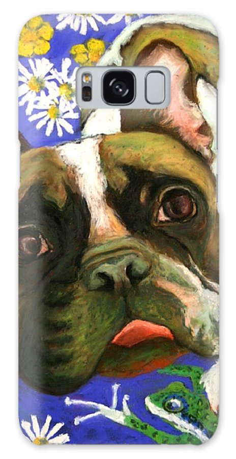 Pet Portrait Galaxy S8 Case featuring the painting Frenchie Plays With Frogs by Minaz Jantz