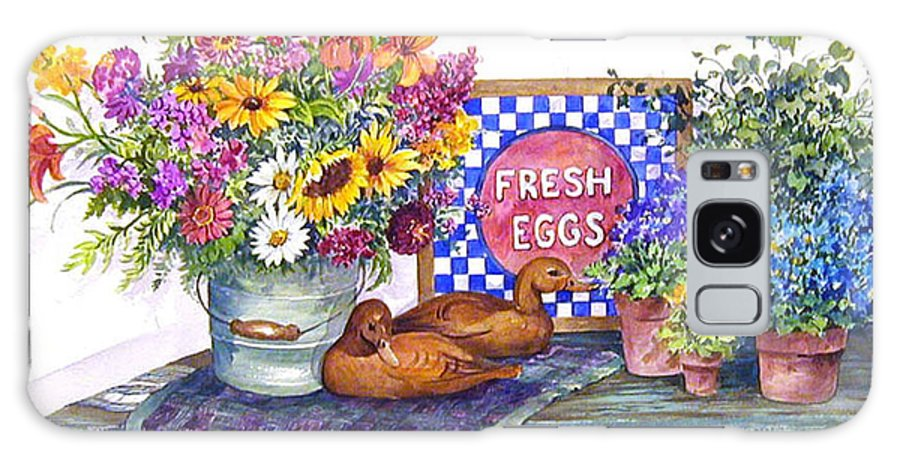 Watercolor;ducks;decoys;floral;mixed Bouquet;potted Plants;checkerboard;quilt; Galaxy S8 Case featuring the painting Fresh Eggs by Lois Mountz