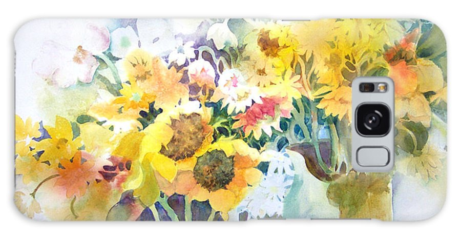Contemporary;watercolor;sunflowers;daisies;floral; Galaxy Case featuring the painting Fresh-picked by Lois Mountz