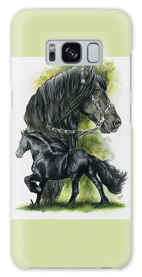 Horse Galaxy S8 Case featuring the mixed media Friesian by Barbara Keith