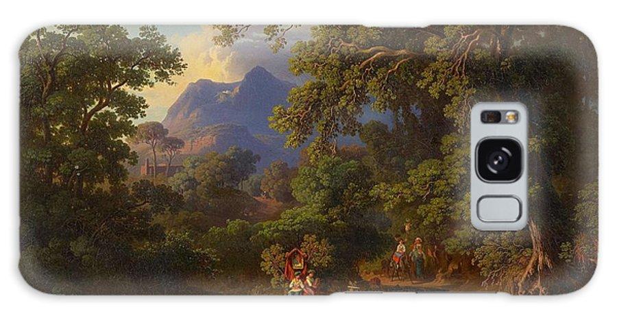 Nature Galaxy S8 Case featuring the painting Frey Johann Jakob 1813 Basel  1865 Frascati Wedding Procession Of Italian Farmers by Frey Johann Jakob