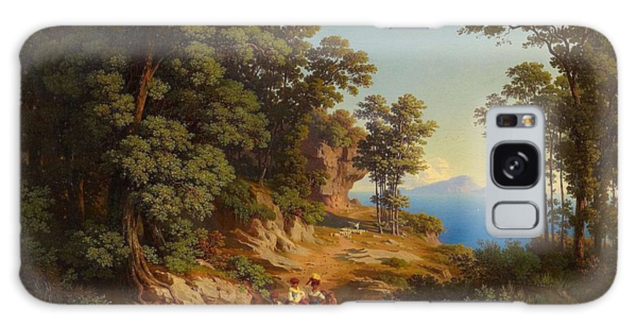 Nature Galaxy S8 Case featuring the painting Frey Johann Jakob 1813 Basel  1865  Shepherds At The Coast Above Naples by Frey Johann Jakob