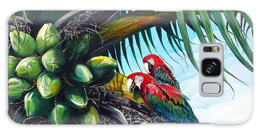 Macaws Bird Painting Coconut Palm Tree Painting Parrots Caribbean Painting Tropical Painting Coconuts Painting Palm Tree Greeting Card Painting Galaxy S8 Case featuring the painting Friends Of A Feather by Karin Dawn Kelshall- Best