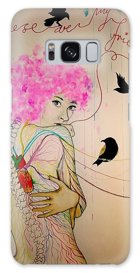 Bird Heart Veins Galaxy S8 Case featuring the drawing Friends With Birds by Freja Friborg