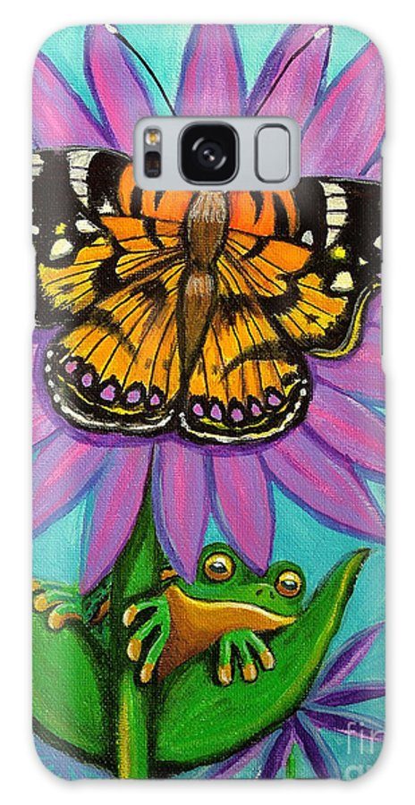 Frog And Butterfly Painting Galaxy S8 Case featuring the painting Frog And Butterfly by Nick Gustafson