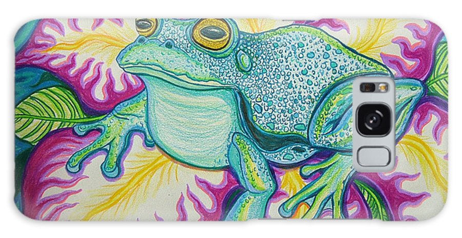 Frog And Flower Art Galaxy S8 Case featuring the drawing Frog And Flower by Nick Gustafson