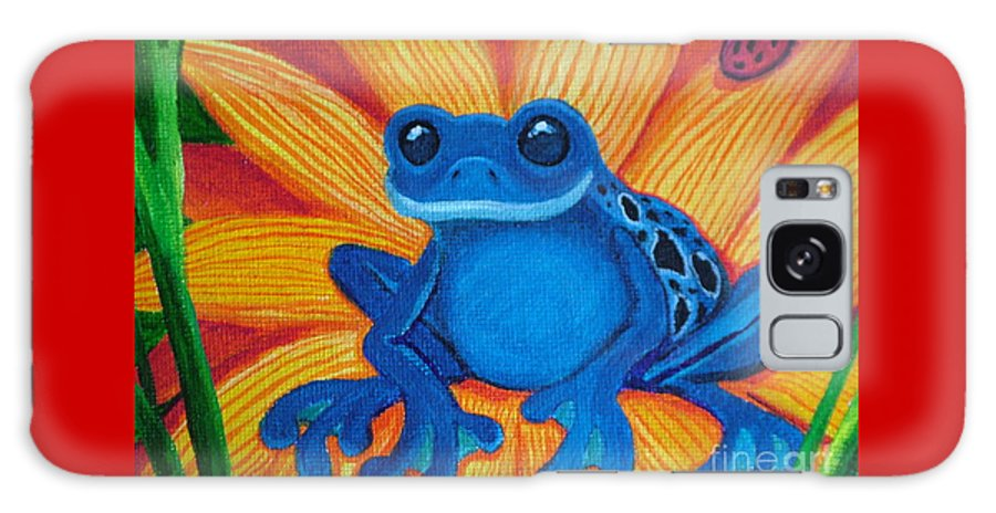 Frog And Flower Painting Galaxy S8 Case featuring the painting Frog And Lady Bug by Nick Gustafson