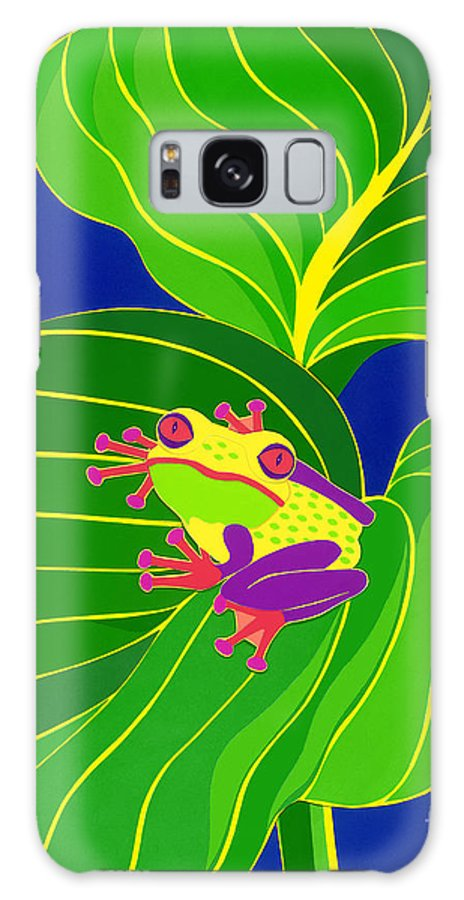 Nature Galaxy S8 Case featuring the drawing Frog On Leaf by Lucyna A M Green