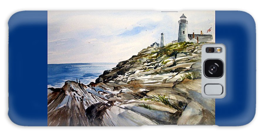 Pemaquid Light House;rocks;ocean;maine;pemaquid;light;lighthouse; Galaxy Case featuring the painting From The Rocks Below by Lois Mountz