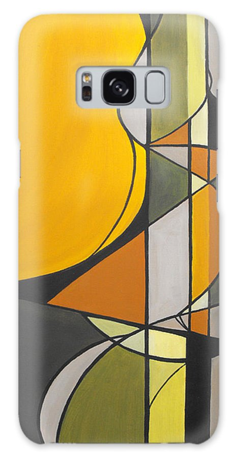 ruth Palmer Abstract Geometric Painting Acrylic Black Grey Green Orange Galaxy S8 Case featuring the painting From Time To Time by Ruth Palmer