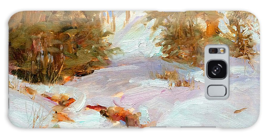 Landscape Galaxy S8 Case featuring the painting Frozen Creek by Peggy Kingsbury