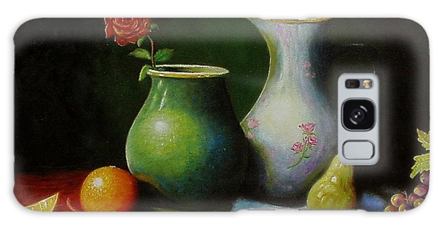 Still Life Galaxy S8 Case featuring the painting Fruit And Pots. by Gene Gregory