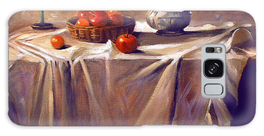 Still Life Galaxy S8 Case featuring the painting Fruit By Candle Light by Nancy Griswold