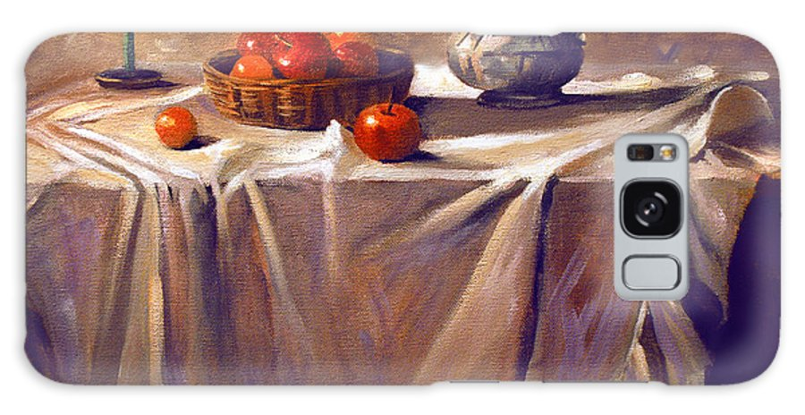 Still Life Galaxy Case featuring the painting Fruit By Candle Light by Nancy Griswold