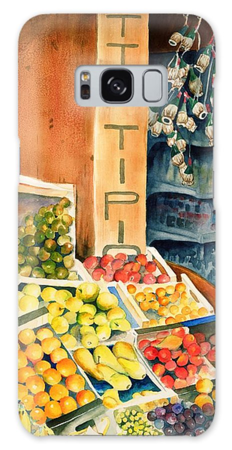 Fruit Shop Window Galaxy Case featuring the painting Fruit Shop In San Gimignano by Judy Swerlick