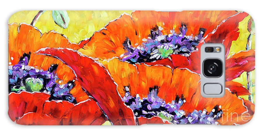 Prankearts Galaxy S8 Case featuring the painting Full Bloom Poppies By Prankearts Fine Art by Richard T Pranke