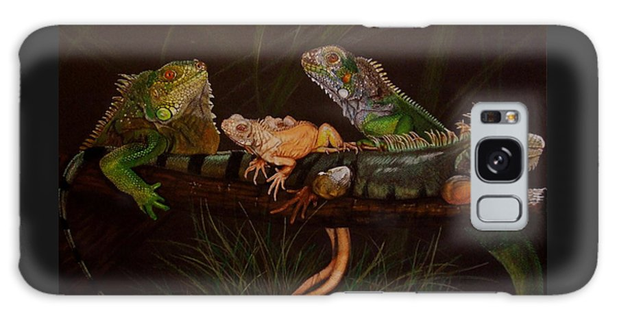 Iguana Galaxy S8 Case featuring the drawing Full House by Barbara Keith