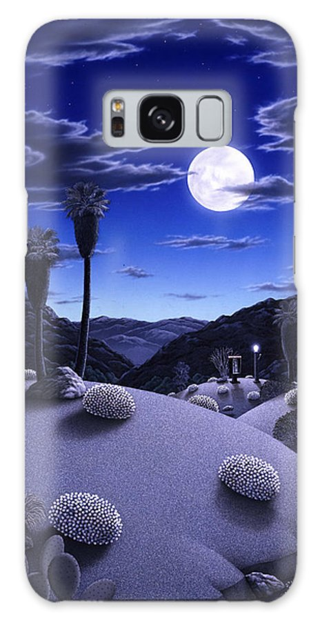 Desert Galaxy S8 Case featuring the painting Full Moon Rising by Snake Jagger