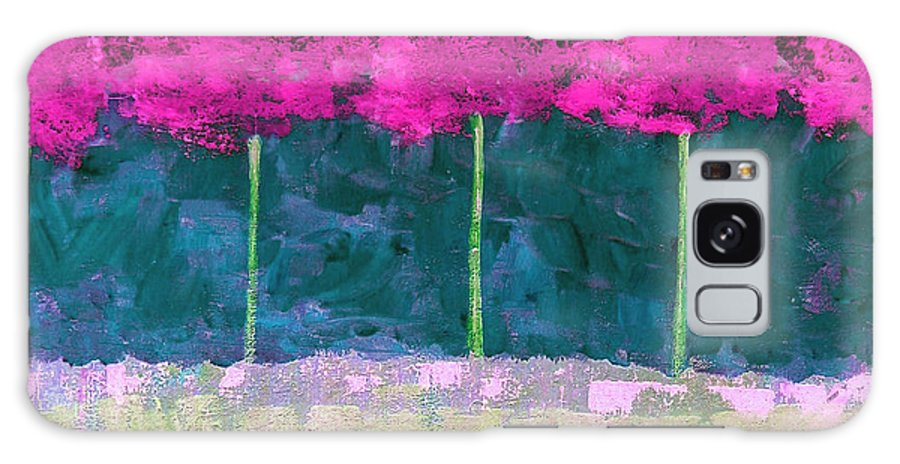 Abstract Galaxy Case featuring the painting Fuschia Trees by Ruth Palmer