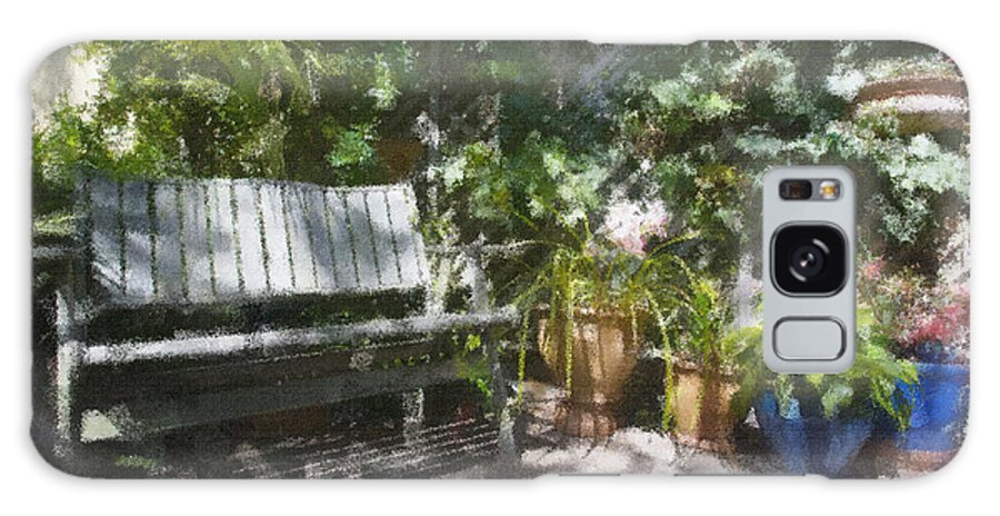 Garden Bench Flowers Impressionism Galaxy Case featuring the photograph Garden Bench by Sheila Smart Fine Art Photography