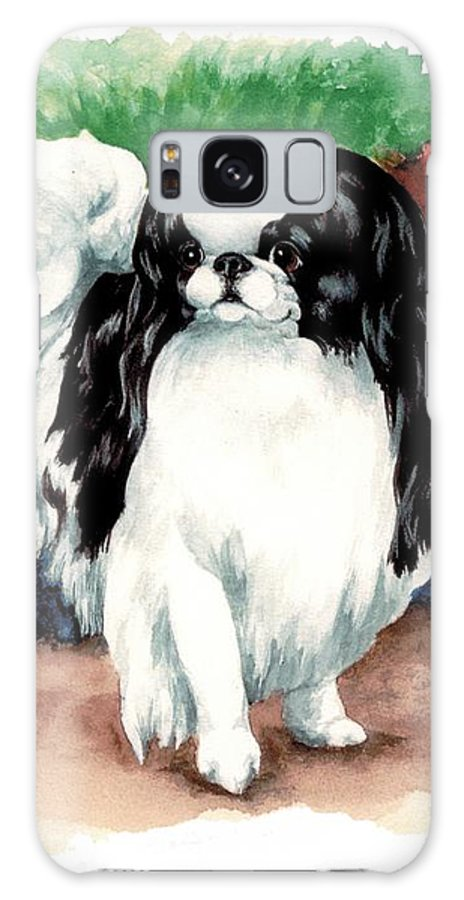 Japanese Chin Galaxy Case featuring the painting Garden Chin by Kathleen Sepulveda