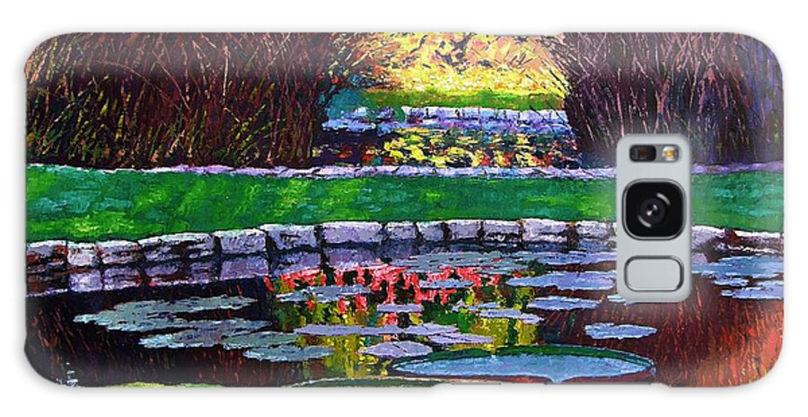 Garden Ponds Galaxy Case featuring the painting Garden Ponds - Tower Grove Park by John Lautermilch