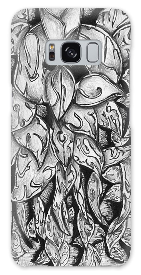 Leaves Galaxy Case featuring the drawing Gardena 1 by Crystal Webb
