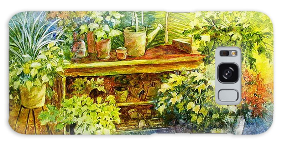 Greenhouse;plants;flowers;gardener;workbench;sprinkling Can;contemporary Galaxy Case featuring the painting Gardener's Joy by Lois Mountz