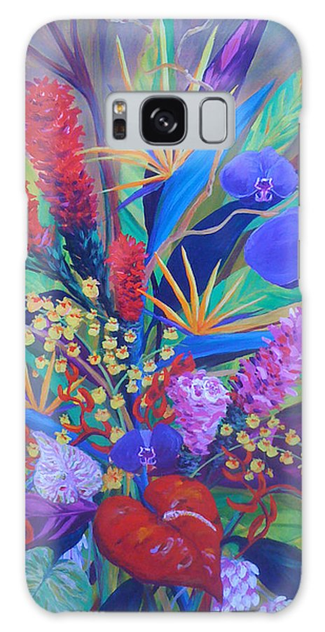 Anthuriums Galaxy S8 Case featuring the painting Gardner Tropicals by Anne Marie Brown