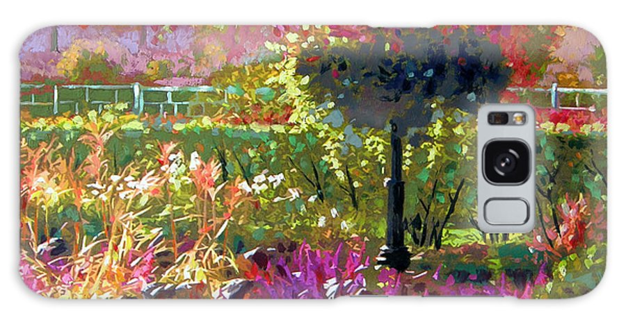 Landscape Galaxy S8 Case featuring the painting Gas Light In The Garden by John Lautermilch