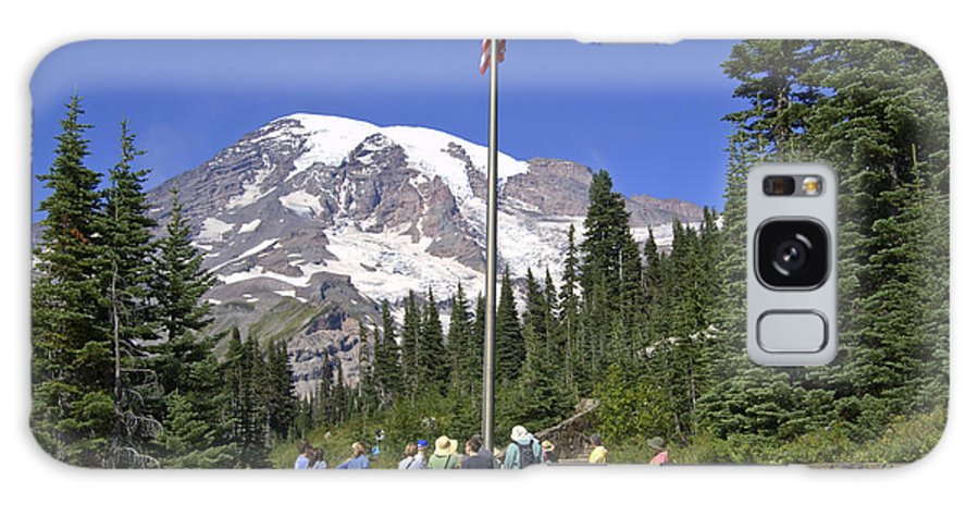 Mt. Rainier Galaxy Case featuring the photograph Gathering Point by Larry Keahey