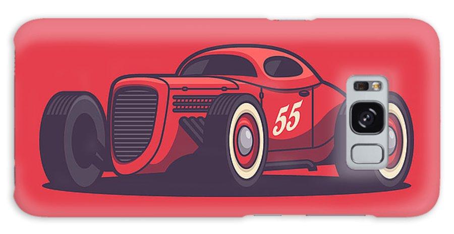 Hot Rod Galaxy S8 Case featuring the digital art Gaz Gl1 Custom Vintage Hot Rod Classic Street Racer Car - Red by Ivan Krpan