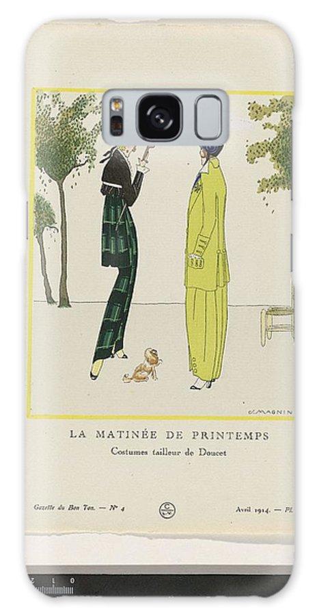 Art Galaxy S8 Case featuring the painting Gazette Du Bon Ton 1914  No 4 Pl 36 La Matinee De Printemps Costumes Tailleur De Doucet J M by Gazette du Bon Ton