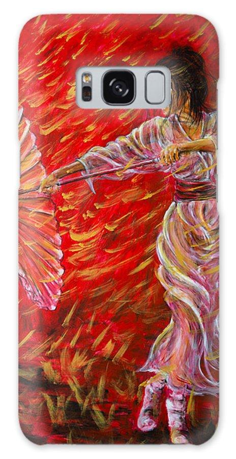 Geisha Galaxy S8 Case featuring the painting Geisha - Rain Dance 02 by Nik Helbig
