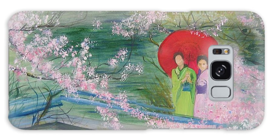Landscape Galaxy Case featuring the painting Geishas And Cherry Blossom by Lizzy Forrester