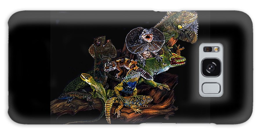 Lizards Galaxy Case featuring the drawing Gems And Jewels by Barbara Keith