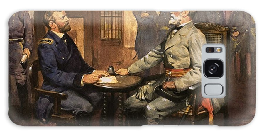 General Grant Meets Robert E. Lee By English School (20th Century) Great Commanders: Hero Of The Southland. General Grant Meets Robert E. Lee. America; Army; Soldiers; American; Flag; American Civil War; Robert E Lee; General Grant; Surrender; Confederate; Union; Us Galaxy S8 Case featuring the painting General Grant Meets Robert E Lee by English School