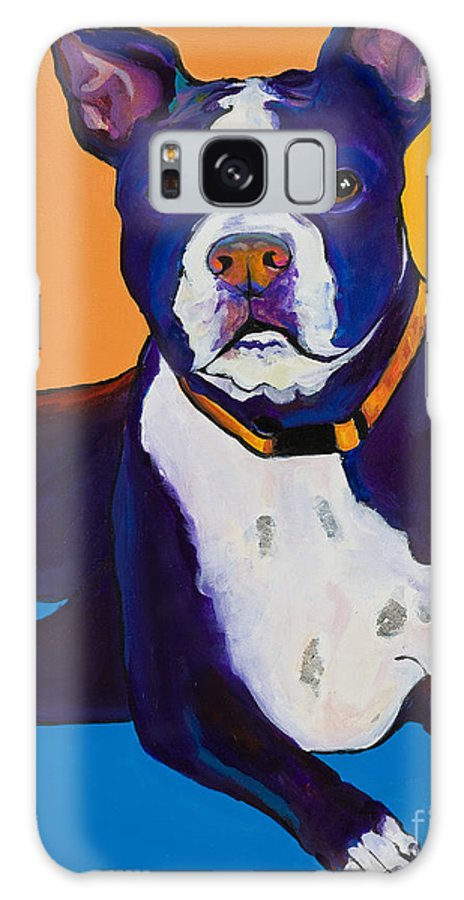 Boston Terrier Galaxy S8 Case featuring the painting Georgie by Pat Saunders-White