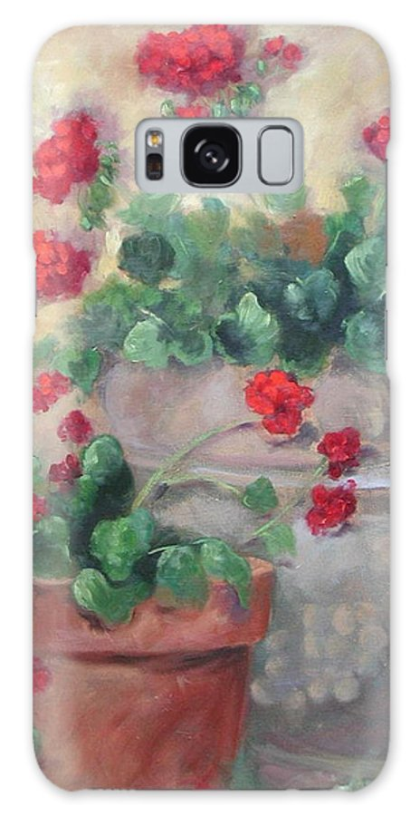 Geraniums Galaxy S8 Case featuring the painting Geraniums by Ginger Concepcion
