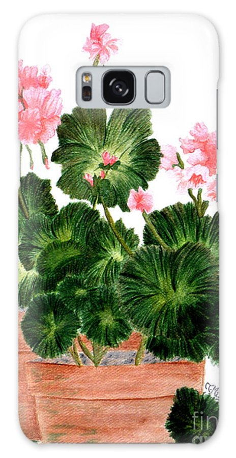 Geraniums Galaxy S8 Case featuring the painting Geraniums In Clay Pots by Terri Mills