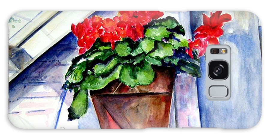 Geranium Galaxy S8 Case featuring the painting Geraniums by Sandy Ryan