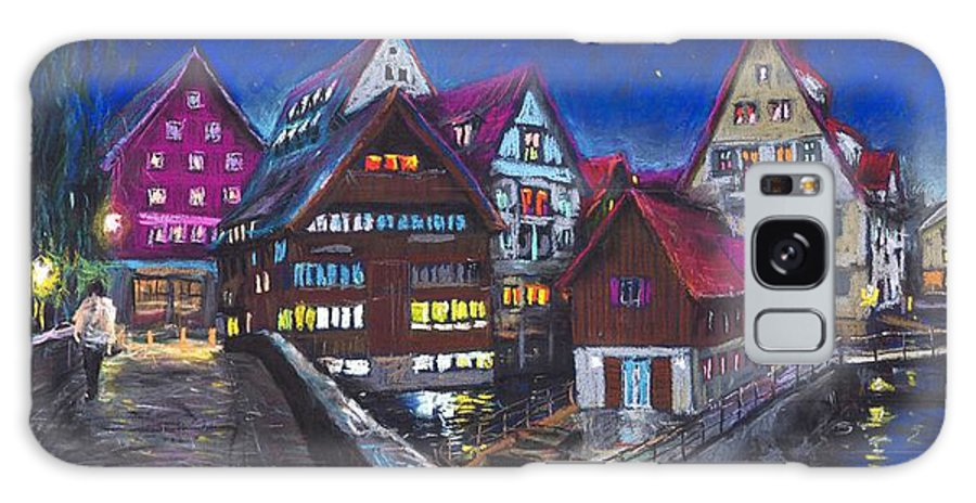 Pastel Galaxy S8 Case featuring the painting Germany Ulm Fischer Viertel by Yuriy Shevchuk