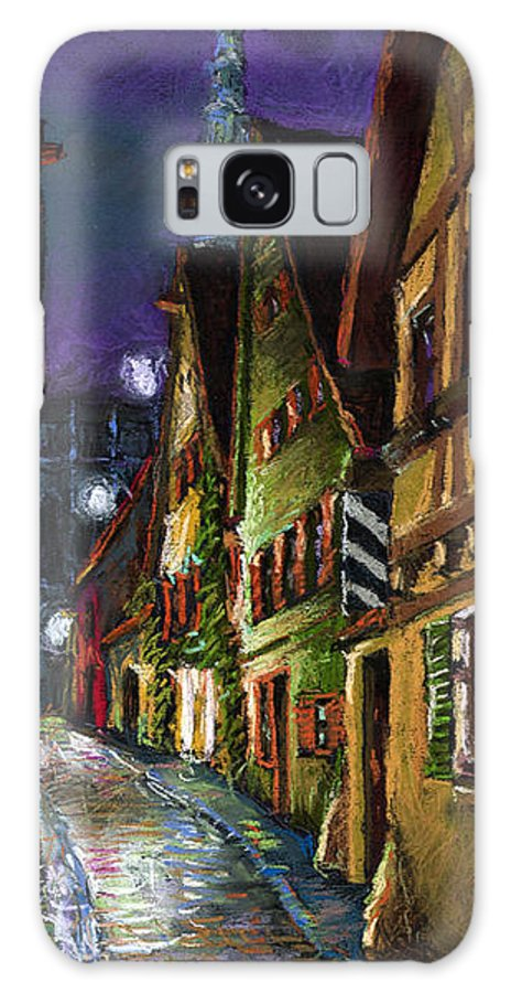 Pastel Galaxy Case featuring the painting Germany Ulm Old Street Night Moon by Yuriy Shevchuk