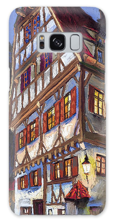 Pastel Galaxy S8 Case featuring the painting Germany Ulm Old Street by Yuriy Shevchuk