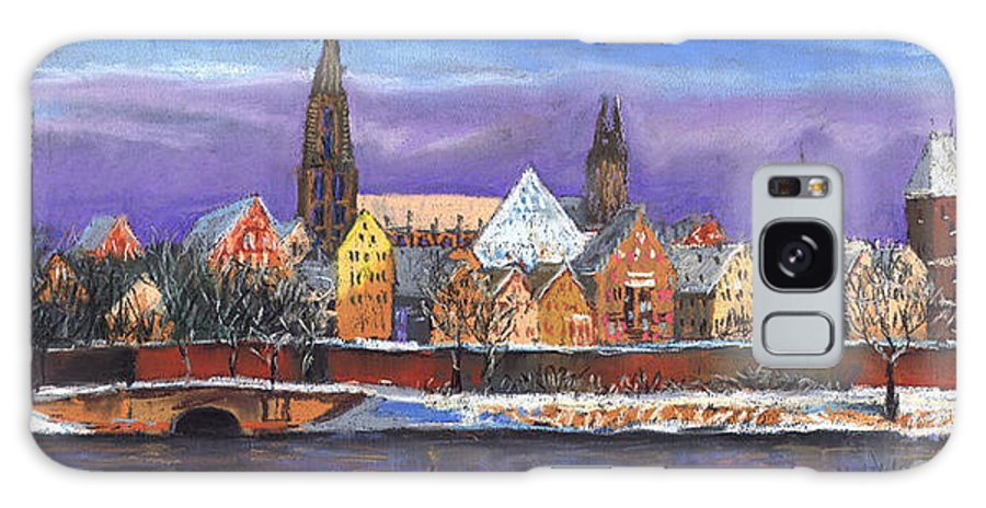 Pastel Galaxy S8 Case featuring the painting Germany Ulm Panorama Winter by Yuriy Shevchuk