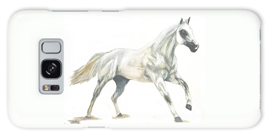 White Horse Galaxy S8 Case featuring the painting Ghost Horse by Debra Sandstrom