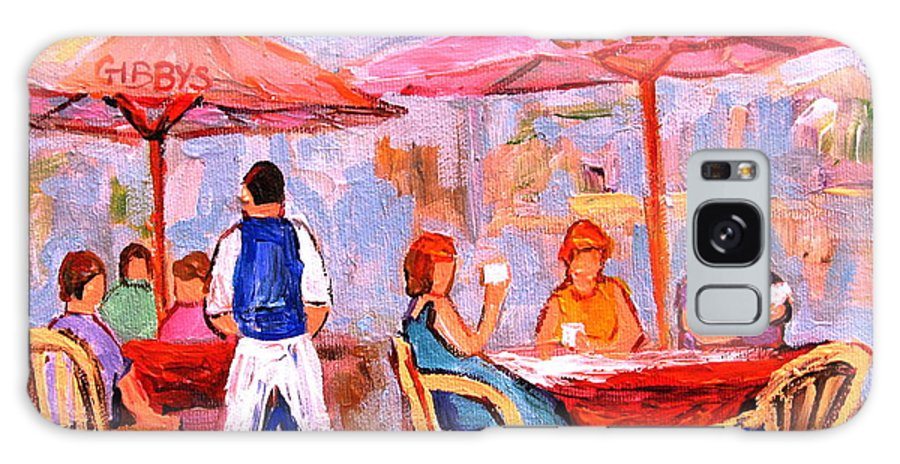 Gibbys Restaurant Montreal Street Scenes Galaxy S8 Case featuring the painting Gibbys Cafe by Carole Spandau