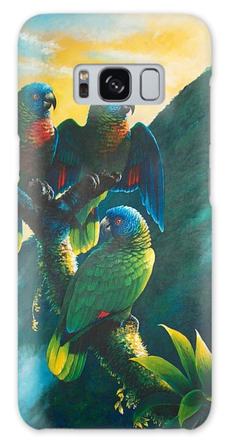 Chris Cox Galaxy S8 Case featuring the painting Gimie Dawn 1 - St. Lucia Parrots by Christopher Cox