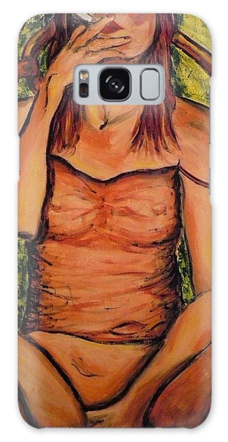 Woman Galaxy S8 Case featuring the painting Gina The Smoking Woman by Ericka Herazo