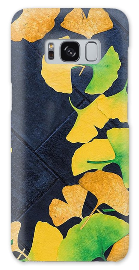 Ginkgo Galaxy S8 Case featuring the mixed media Ginkgo Leaves On Pavement by Ashley Nation
